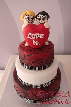 LOVE IS .....  Cake by nicolalabridgeter. I want this cake!!