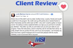 Congratulations on your results Leslie, and thank you for your positive feedback!    No credit problem is small, and there are options to help you increase your credit scores. Have you reviewed your credit report?      For more information about our credit repair services, real estate services and loan resources, please contact us today.  ☎️ (866) 217-9841 or visit www.msicredit.com.