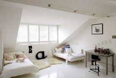Minimalist White Interior Color In Girls Bedroom With Twinbed Wonderful Attic Spaces Decoration for New Private Room Interior Design Attic Bedroom Designs, Attic Bedrooms, Attic Design, Shared Bedrooms, Kids Bedroom, Kids Rooms, Bedroom Ideas, Interior Design, Lego Bedroom
