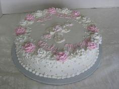 Baptism - Baptism cake with fondant pearls & cross.   Almost identical to a First Communion cake I did previously.