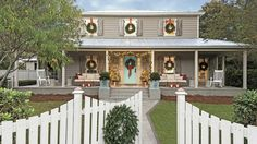 See the cheery Christmas homes inspiring us this year. Over the years, we've photographed plenty of Southern homes decked out for Christmas. So we know better than anyone that nobody does outdoor Christmas decorations quite like the South. Christmas wreaths, over-the-top garland, and cheery window decorations are just a few ways to decorate your home's exterior for Christmas. We've gathered all of our favorite festive home exteriors, featuring everything from tasteful Christmas window…