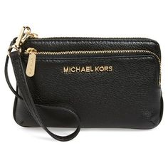 MICHAEL Michael Kors 'Small Bedford' Leather Wristlet ($53) ❤ liked on Polyvore featuring bags, handbags, clutches, genuine leather handbags, leather wristlet, genuine leather purse, 100 leather handbags and wristlet clutches