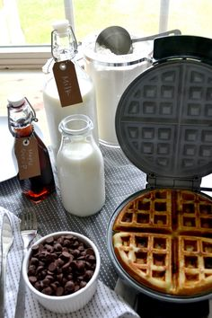 Milk is a key ingredient in these chocolate chip waffles and it goes great with the finished product