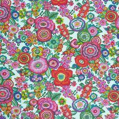 Baumwollstoff Stoff Amparo Blumen bunt auf weiß Stoffe & Zubehör Stoffe Dekostoffe Motive
