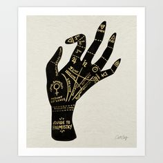 Palmistry, palm reading, painting, hand...