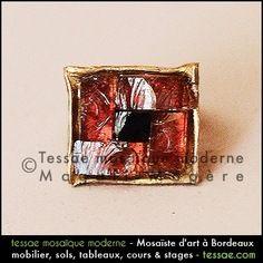 """Bague unique en mosaïque de pâte-de-verre, argent & bronze """"Vivianne"""""""