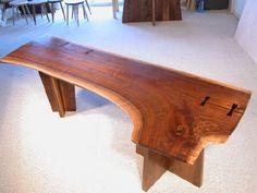 Walnut Slab Double Pedestal Natural Edge Desk.
