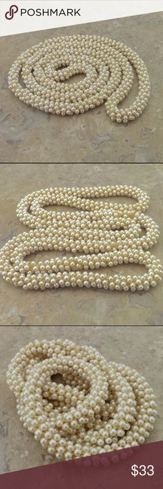 """vintage statement necklace long woven pearl strand mid century long endless strand woven faux seed pearls very versatile wear as long necklace or doubled for the chunky look twisted as an eye catching bracelet wrist or mid arm good vintage condition some minor age appropriate wear 43"""" length x 1/2"""" strand width vintage Jewelry Necklaces"""