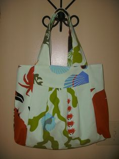Handmade Red Crab Sea Life Pattern Hand Bag by rebeccaanndesigns, $40.00
