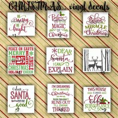 CHRISTMAS vinyl decals | christmas decoration | decal | sticker | decal for canvas | craft supplies | 1-9