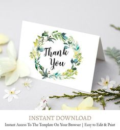 Wreath Wedding Thank You Cards Watercolor Bark Thank You