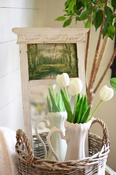 Beautiful spring home tour with vintage cottage style. Find easy spring decorating ideas with bunnies, birds, and blooms. Spring Home, Spring Garden, Colored Glass Bottles, Spring Flowering Bulbs, Painted Cottage, Vintage Sheet Music, Vintage Easter, Faux Flowers, Garden Styles