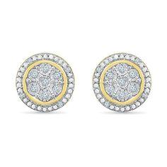 Deux Tons 14K or jaune sur argent sterling 925 Rond Diamant Clous D/'Oreilles