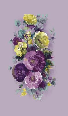 Garland Violet (FH046) - Wilman Wallpapers - A stunning wall panel with a flamboyant bouquet of large scale flowers in shades of purple, blue and pale green on a soft pale violet background. Sold as a single panel 1.2m wide and 2.2m long. Paste the wall.