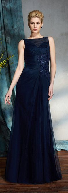 Dark navy blue beaded mother of the bride dress in floor length. Chiffon dress is nice for summer occasions. Not like this classic navy? Pick your own color and size by our custom-made service