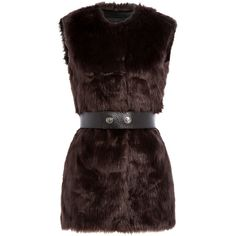 Karl Lagerfeld Faux Fur Vest ($310) ❤ liked on Polyvore featuring outerwear, vests, brown, slim fit vest, faux fur shrug, faux fur waistcoat, fake fur vest and vest waistcoat