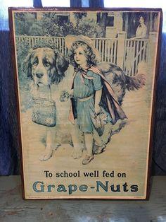 1981 Large Grape-Nuts Ad Beveled Wood Back Plaque St Bernard Dog Little Girl