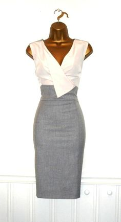 BNWT Oasis UK16 Grey Ivory Two Tone Cowl Pencil Wiggle Dress Wedding Party