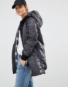 Converse Black Long Padded Jacket With Borg Lined Hood