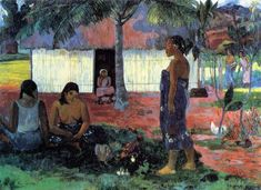 Why Are You Angry?, 1896 by Paul Gauguin, 2nd Tahiti period. Cloisonnism. genre painting. Art Institute of Chicago, Chicago, IL, USA
