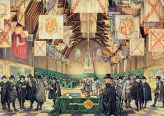 Meeting of the Dutch Estates General in the Ridderzaal in the Hague School Posters, Vintage School, The Hague, Cornelius, Character Portraits, Modern Warfare, 17th Century, Holland, Netherlands