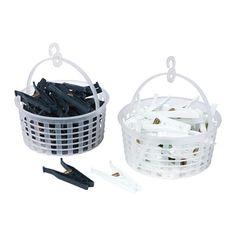 IKEA - PRYTTLAR, Kosz z 35 spinaczami na ubrania, Powłoka chroniąca przed promieniowaniem UV wydłuża żywotność tworzywa.