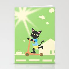 Kick scooter Stationery Cards by BATKEI #Society6 #cat #猫 #ネコ #card