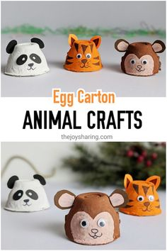 Recycle egg carton into these cute animal crafts. Easy tiger panda and monkey craft for preschoolers to make. Farm Animal Crafts, Animal Crafts For Kids, Crafts For Kids To Make, Craft Activities For Kids, Toddler Crafts, Animals For Kids, Artic Animals, Animal Activities, Activity Ideas
