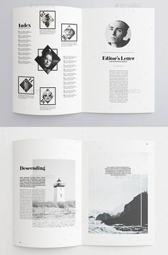35 Best Magazine Template Designs 40 Pages Minimal Magazine. The layout is curious and gives an original and elegant touch. Magazine Layout Inspiration, Magazine Layout Design, Book Design Layout, Print Layout, Graphic Design Inspiration, Magazine Layouts, Web Layout, Design Ideas, Magazine Cover Layout