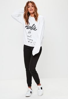 d421f736070 Missguided - Barbie x Missguided White Barbie City Printed Sweatshirt