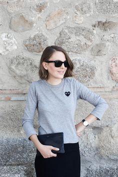 Trini | Isabel Marant midi skirt -Comme des Garçons PLAY t-shirt - Céline pouch