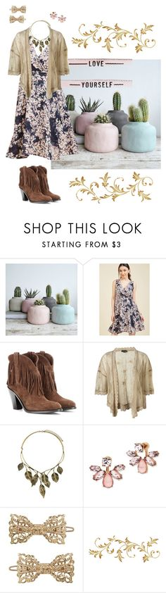 """""""Soft desert grunge"""" by highly-fashionable-shark ❤ liked on Polyvore featuring Yves Saint Laurent, Marchesa, Forever 21, marchesa, western, cowboyboots and saintlaurent"""