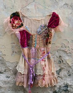 Framboise- hand beaded embroidered bohemian flair tunic reworked with antique laces, silk velvet , vintage trims