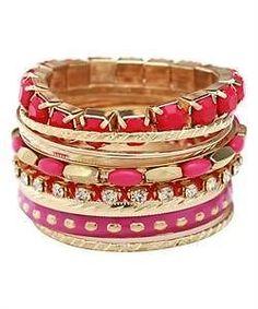 Hot pink fuschia FASHION BANGLE bracelet ARM CANDY stackable chunky set Bling #HotJewelry #DazzleMe