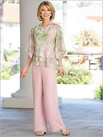 Floral Triple Tier Top & Pull On Pants by Alex Evenings Floral Triple Tier Top & Pull On Pants by Alex Evenings Wedding Trouser Suits, Formal Pant Suits, Wedding Pantsuit, Special Occasion Outfits, Occasion Dresses, Formal Jackets For Women, Mother Of The Bride Suits, Tiered Tops, Dressy Pants