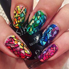 """Rainbow mosaic nail design"""
