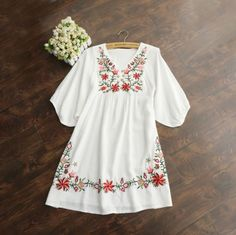 Hot Sale Vintage 70s Women Mexican Ethnic Embroidered Pessant Hippie Blouse Gypsy Boho Mini Dress Free Shipping-in Dresses from Women's Clothing & Accessories on Aliexpress.com   Alibaba Group   @giftryapp