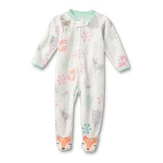 b6010ddcf1 Small Wonders Newborn Girls  Fleece Sleeper Pajamas - Foxes  amp  Deer