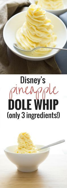 You only need 5 minutes and 3 ingredients to re-create the Pineapple Dole Whip from Disney! You only need 5 minutes and 3 ingredients to re-create the Pineapple Dole Whip from Disney! Weight Watcher Desserts, Frozen Desserts, Just Desserts, Dessert Recipes, Frozen Treats, Frozen Drinks, Summer Desserts, Helado Natural, Beaux Desserts