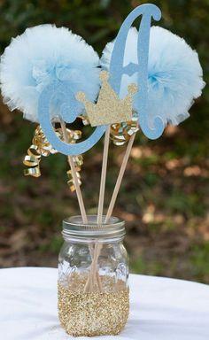Centro de mesa ara fiestas  Pompones, azul bebé  Baby shower
