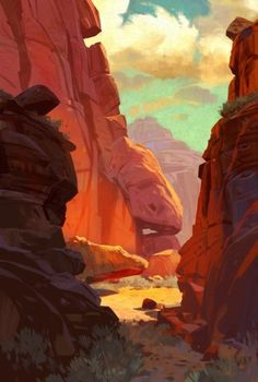 A sun baked canyon, deep in the wilds of the American West. Where the turquoises sky and rusty rocks remind me of road runner cartoons. Landscape Concept, Fantasy Landscape, Landscape Art, Fantasy Art, Environment Concept Art, Environment Design, Desert Environment, Animation Background, Art Background