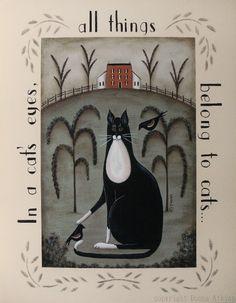 Tuxedo Cat and Bird Folk Art Quotation Print, In a Cat's Eyes by Donna Atkins. $12.00, via Etsy.