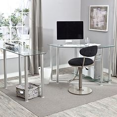 Corner Computer Desk with Glass Top Work Center Arm | Office Store