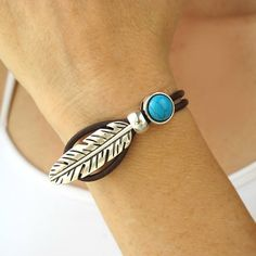 Boho Jewelry-Boho Bracelet-Leather Cuff Bracelet for