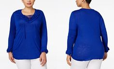 INC International Concepts Plus Size Ruffled Lace-Up Top, Only at Macy's