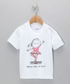 Another great find on #zulily! Dance World Bazaar White 'Dancing Makes Me Smile' Ballerina Tee - Toddler & Girls by Dance World Bazaar #zulilyfinds