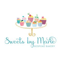 Cake Logo Brand Package Watercolor And Gold By Demoisellepixel