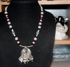 Tina the Ballerina Necklace upcycled from vintage earring.  Silentcow creations etsy
