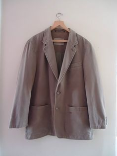 "MENS 100% COTTON CAMEL COLLECTION KHAKI BEIGE TAUPE COAT JACKET 44"" CHEST"