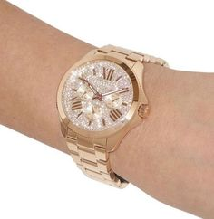 GOLD BLING!! Crystal Pave Face. Women's Fossil Watch AM 4604